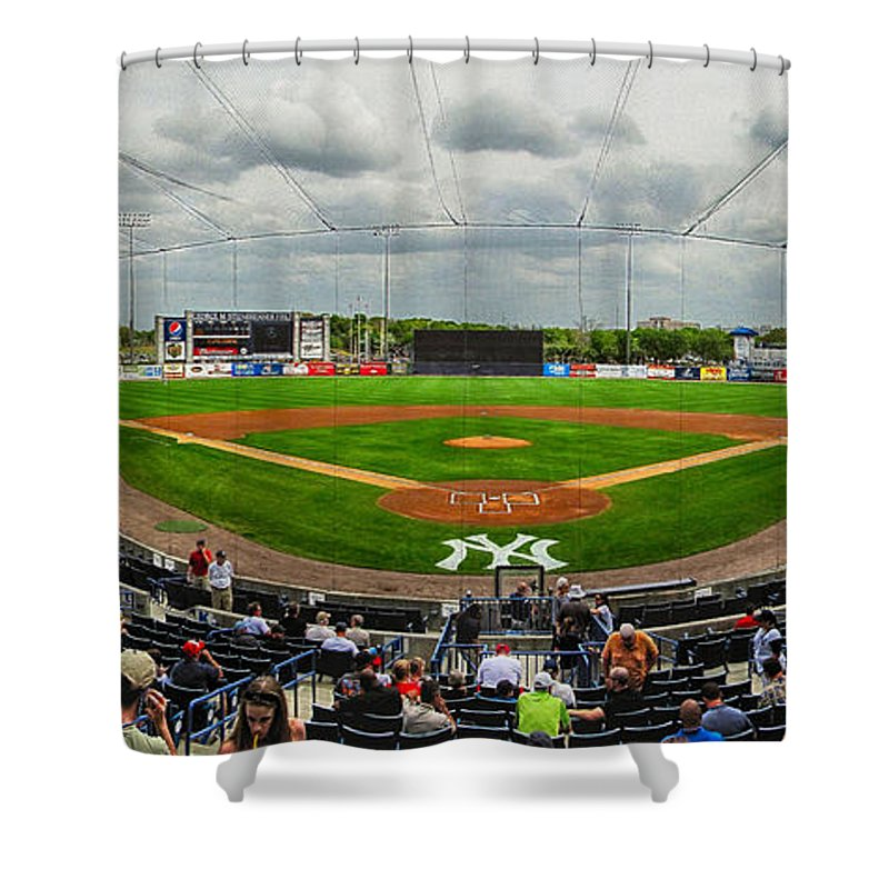 New York Yankees Shower Curtain featuring the photograph Steinbrenner Field by C H Apperson