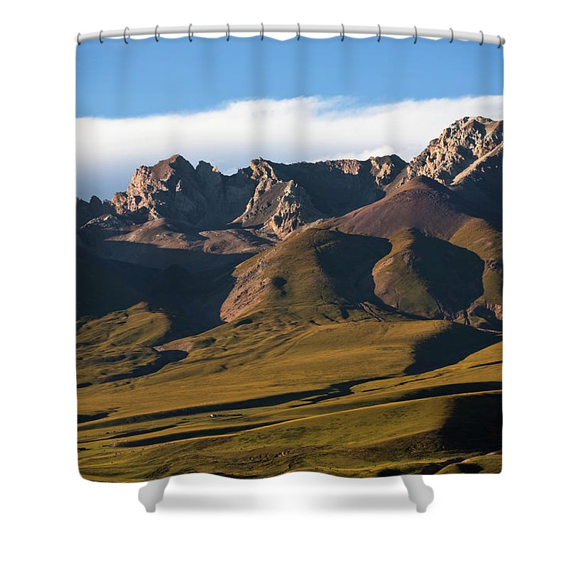 Scenics Shower Curtain featuring the photograph Steppe Valley With Surrounding Peaks by Merten Snijders