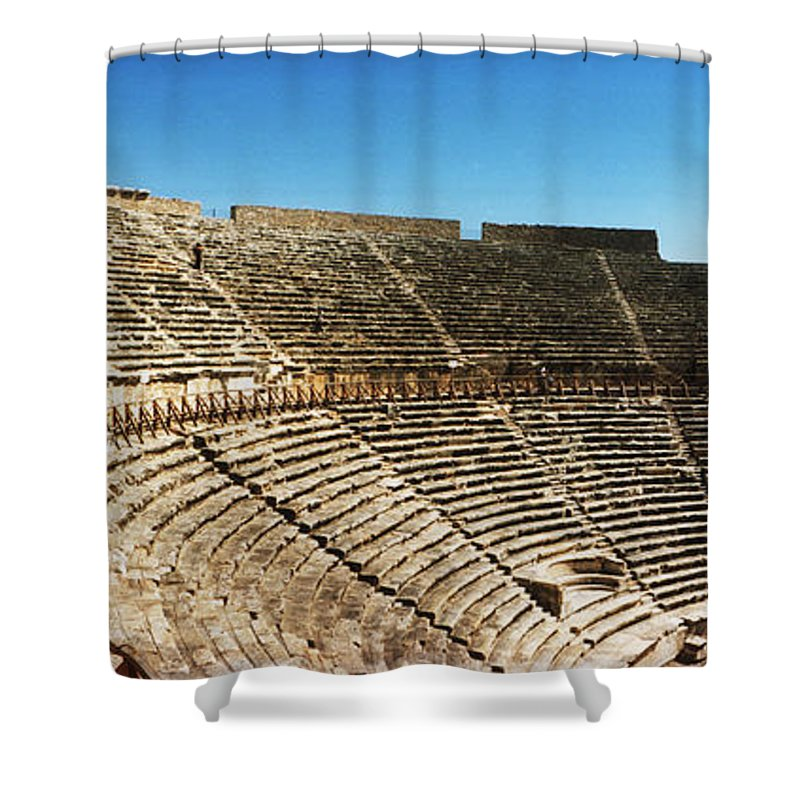 Photography Shower Curtain featuring the photograph Steps Of The Theatre In The Ruins by Panoramic Images