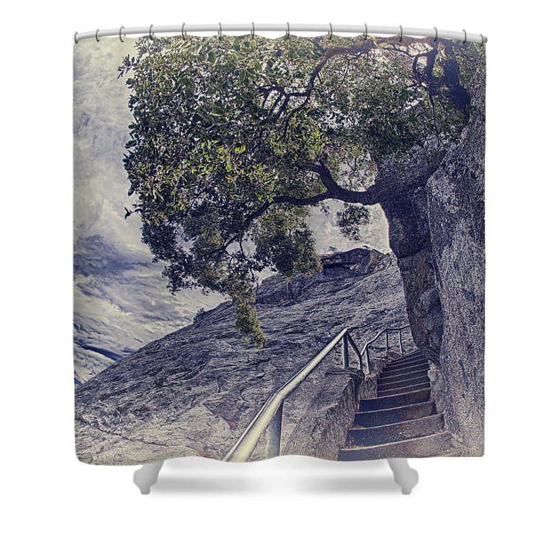 Moro Rock Shower Curtain featuring the photograph Steps To Beauty On Moro Rock by Angela Stanton