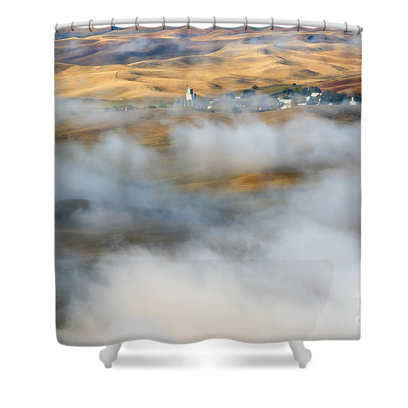 Palouse Shower Curtain featuring the photograph Steptoe Fog Clearing by Mike Dawson