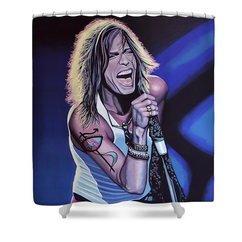 Steven Tyler Shower Curtain featuring the painting Steven Tyler 3 by Paul Meijering