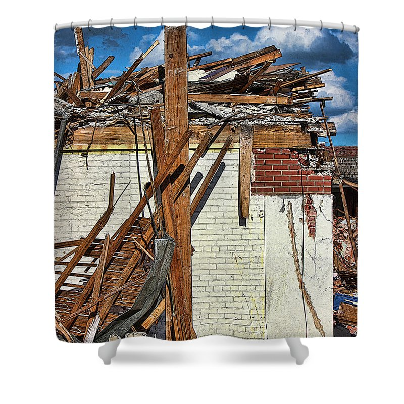 Demolition Shower Curtain featuring the photograph Sticks And Stones by Sylvia Thornton