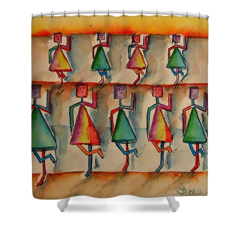 Stickman Shower Curtain featuring the painting Stickwomen Performers by Elaine Duras