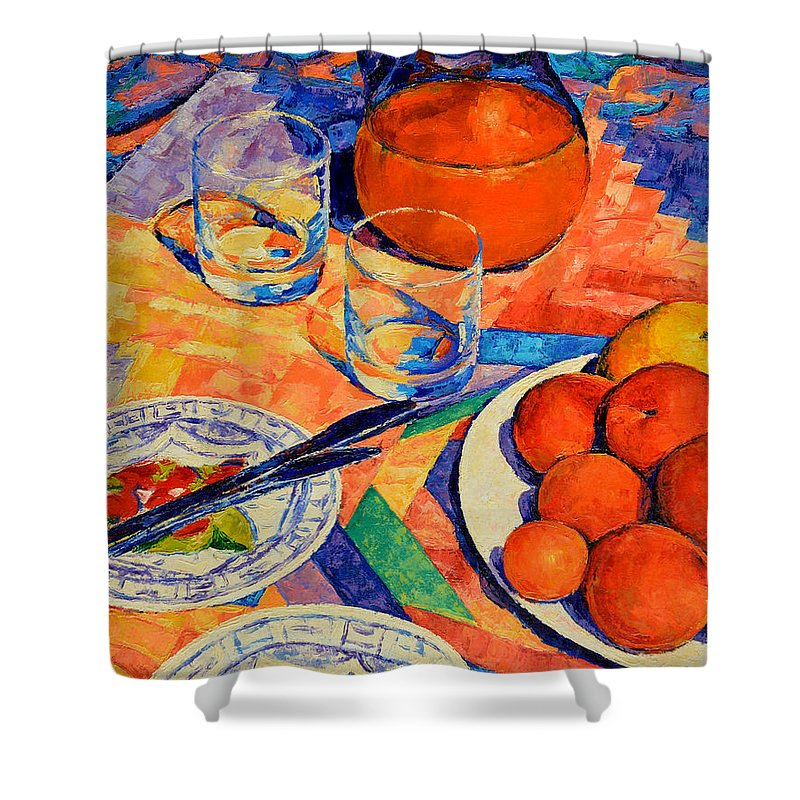 Still Life Shower Curtain featuring the painting Still Life 1 by Iliyan Bozhanov