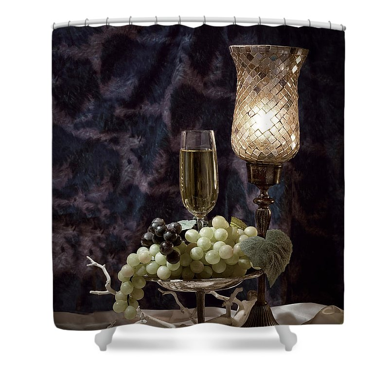 Wine Shower Curtain featuring the photograph Still Life Wine With Grapes by Tom Mc Nemar
