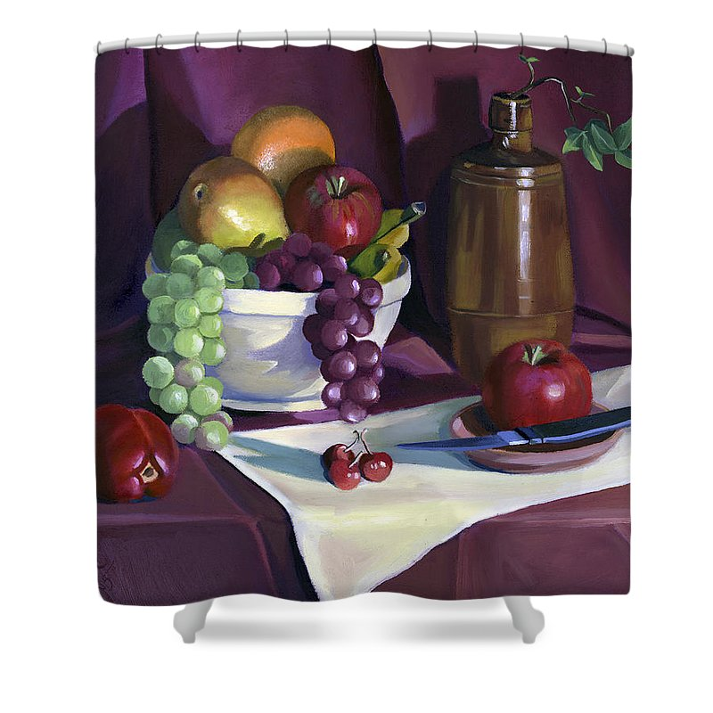 Fine Art Shower Curtain featuring the painting Still Life With Apples by Nancy Griswold