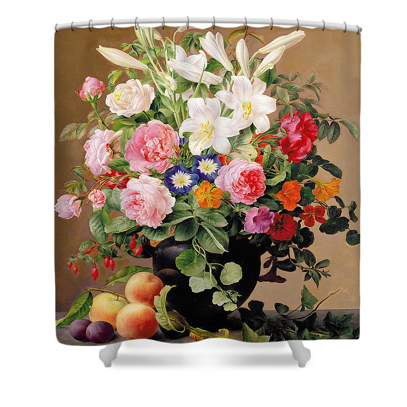 Peony Shower Curtain featuring the painting Still Life With Flowers And Fruit by V Hoier