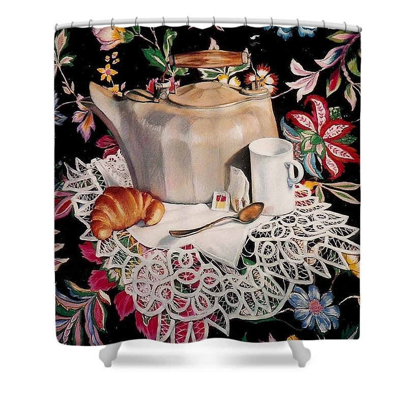 Stillife Shower Curtain featuring the pastel Still Life With Lace by Constance Drescher