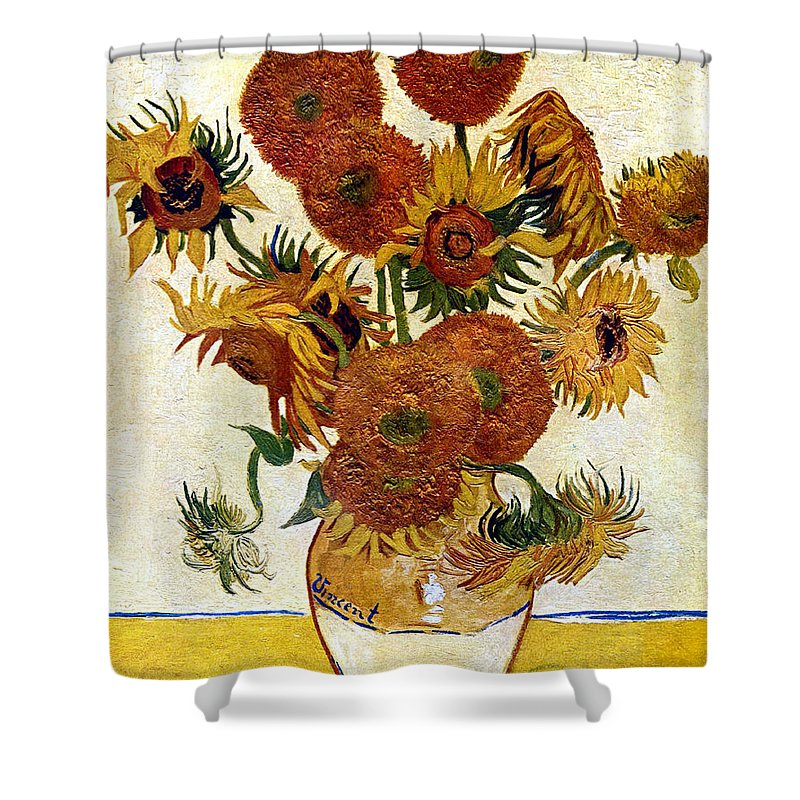 Vincent Van Gogh Shower Curtain featuring the digital art Still Life With Sunflowers by Vincent Van Gogh