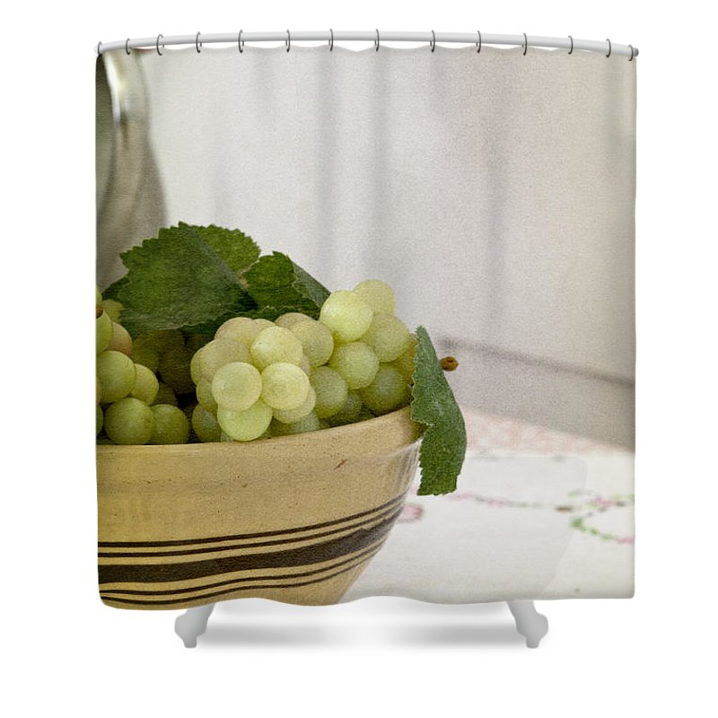 Fruit; Bowl; Flowers; Vase; Still Life; Table; Table Cloth; Bowl Of Fruit; Fresh; Food; Kitchen; Old; Grapes; Leaves; Inside; Indoors; Pitcher Shower Curtain featuring the photograph Still by Margie Hurwich