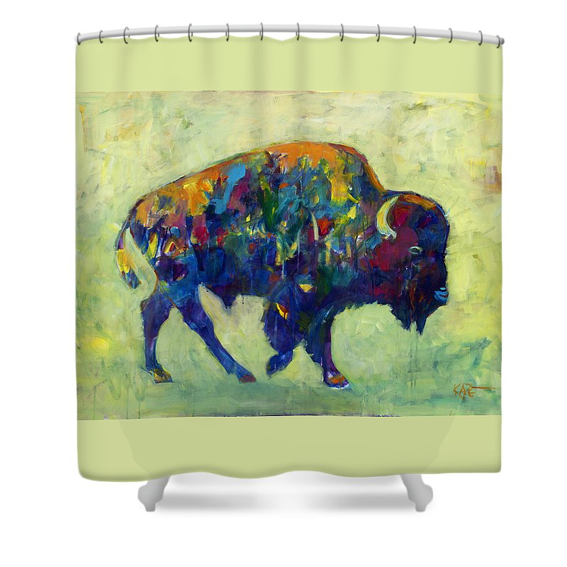 Bison Shower Curtain featuring the painting Still Wild by Kate Dardine