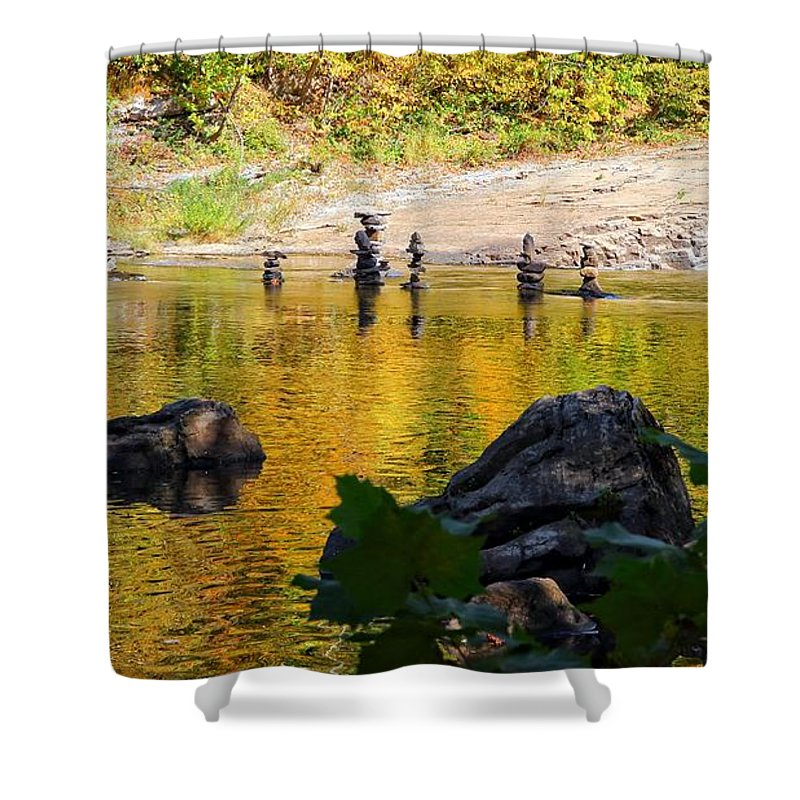 High Falls Shower Curtain featuring the photograph Stone Gods Of The River by Robert McCulloch
