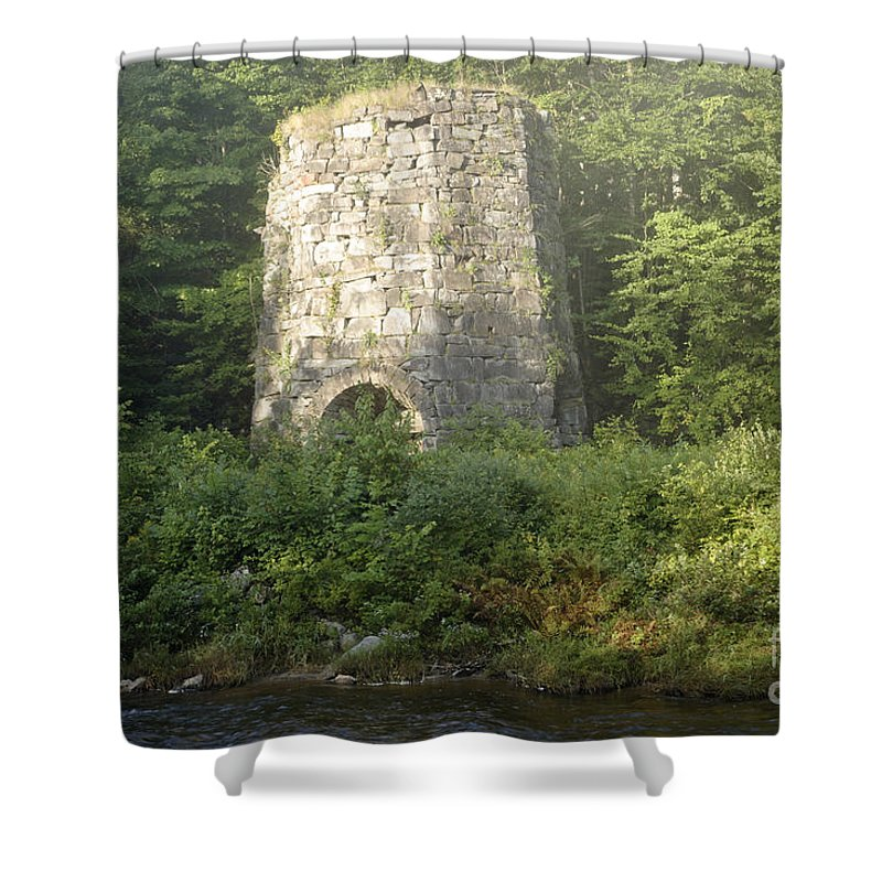 New England Shower Curtain featuring the photograph Stone Iron Furnace - Franconia New Hampshire by Erin Paul Donovan