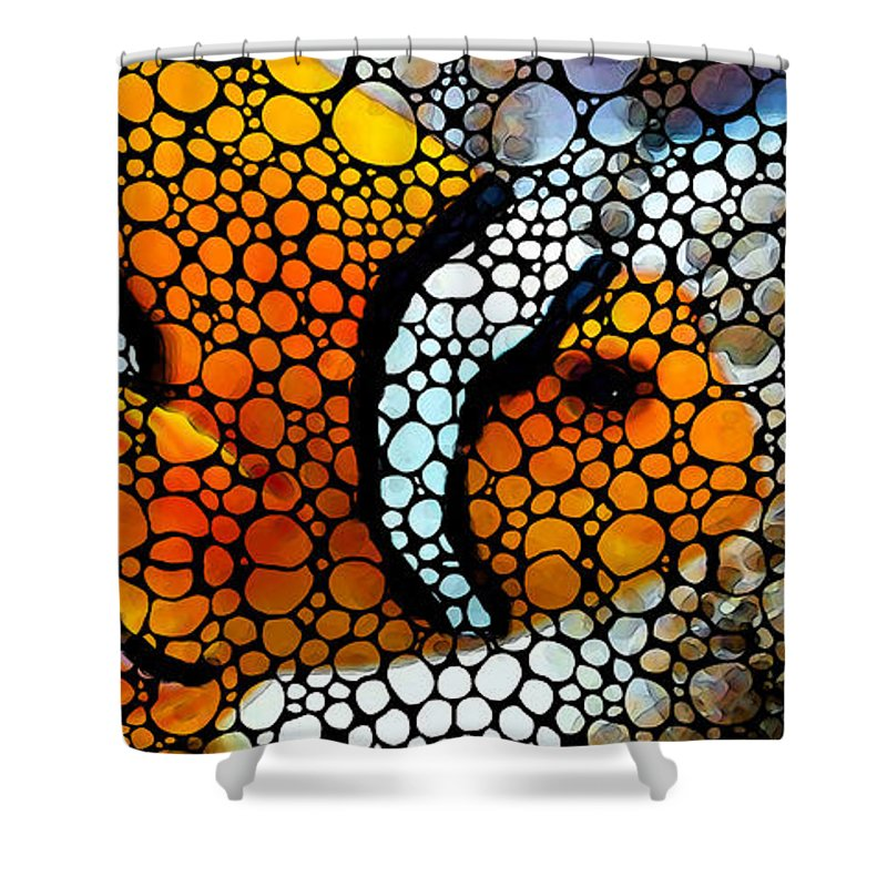 Fish Shower Curtain featuring the painting Stone Rock'd Clown Fish By Sharon Cummings by Sharon Cummings