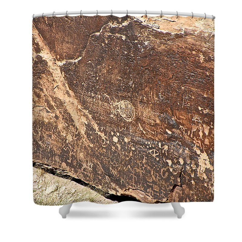 Petroglyph Shower Curtain featuring the photograph Stone Written by Susan Herber