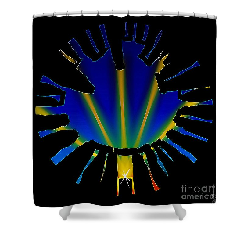 Solstice Shower Curtain featuring the digital art Stonehenge Solstice by Neil Finnemore