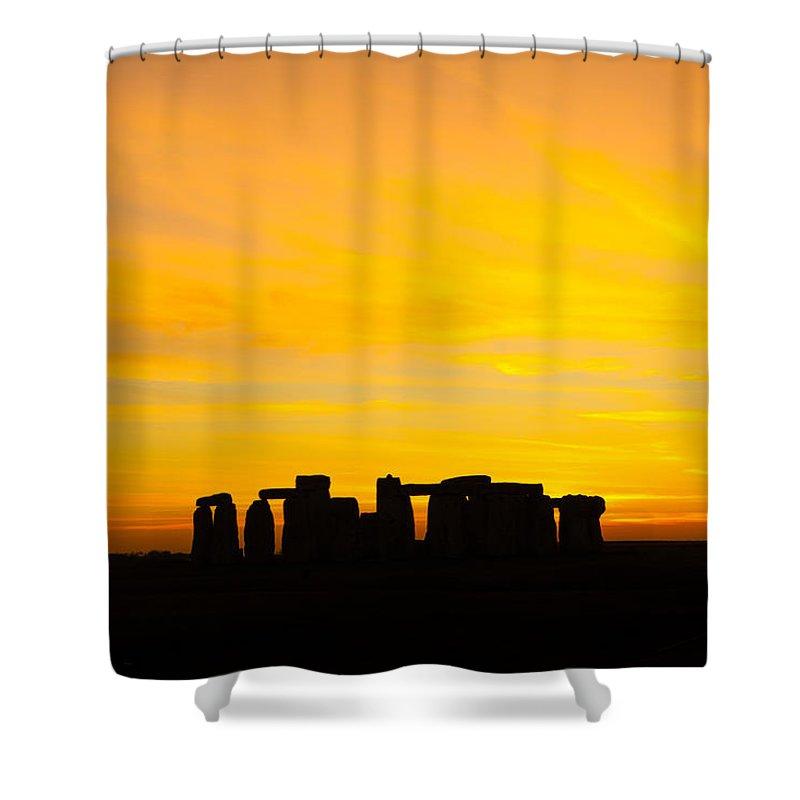 Stonehenge Sunset Shower Curtain featuring the photograph Stonehenge Sunset by Ken Brannen