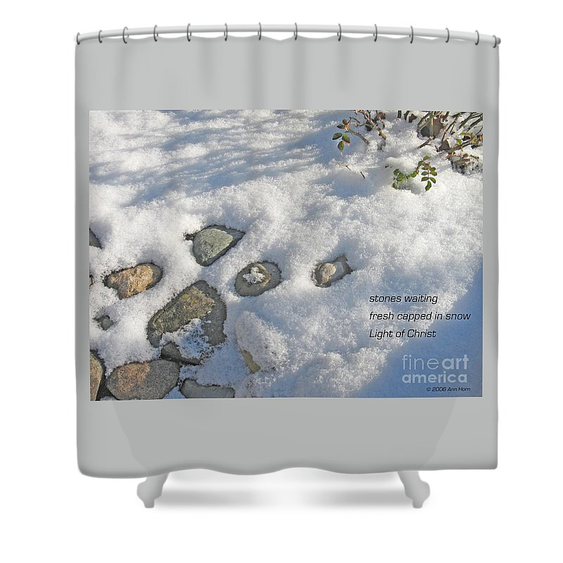 Christmas Shower Curtain featuring the photograph Stones Waiting by Ann Horn