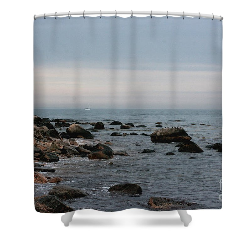 Ocean Shower Curtain featuring the photograph Storm At Sea In Rhode Island by Marcel J Goetz Sr