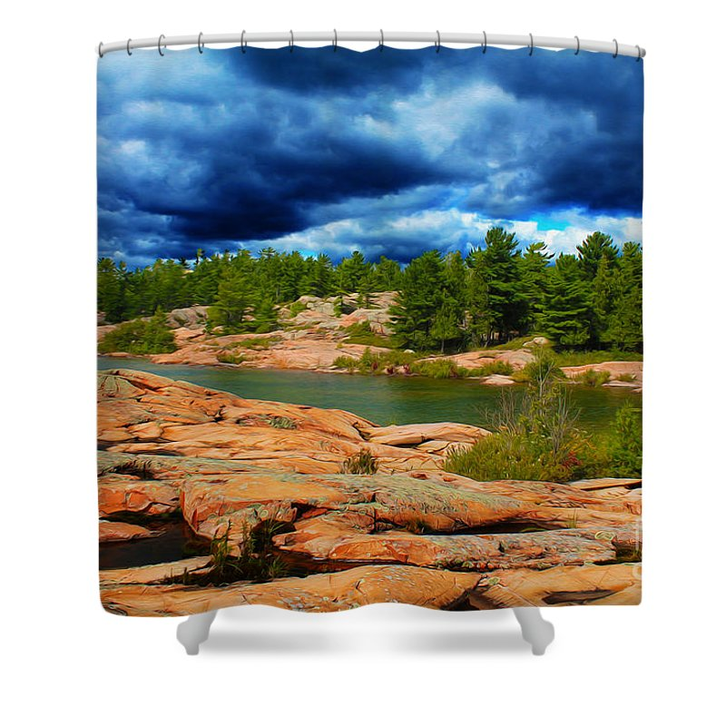 Canada Shower Curtain featuring the photograph Storm Clouds Approaching Chikanashing by Nina Silver