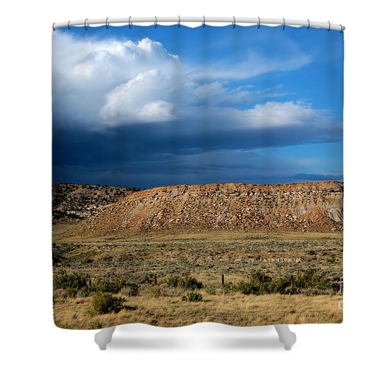 Storm Shower Curtain featuring the photograph Storm Clouds Over Central Wyoming by Carol Groenen