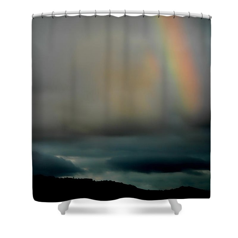 Rainbow Shower Curtain featuring the photograph Storm Passing by Donna Blackhall
