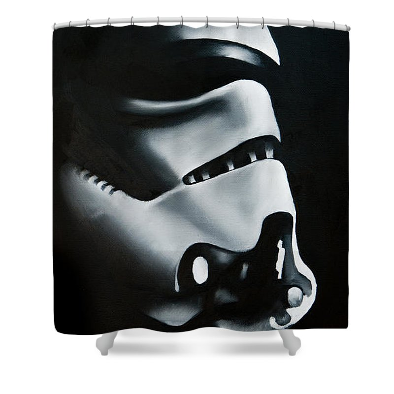 Stormtrooper Shower Curtain Featuring The Painting By Clifton Llamas