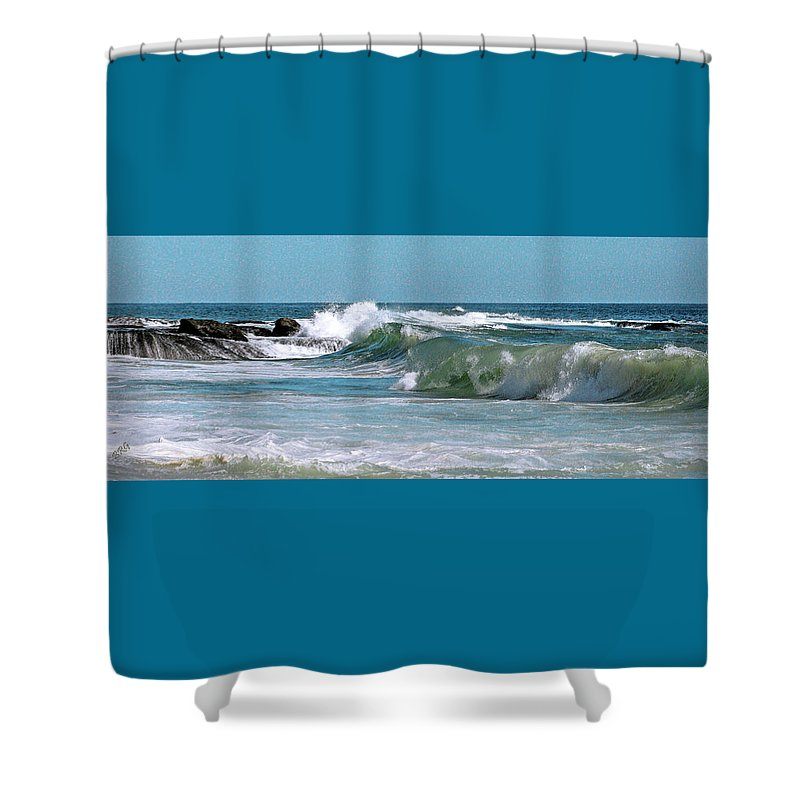 Seascape Shower Curtain featuring the photograph Stormy Lagune - Blue Seascape by Ben and Raisa Gertsberg