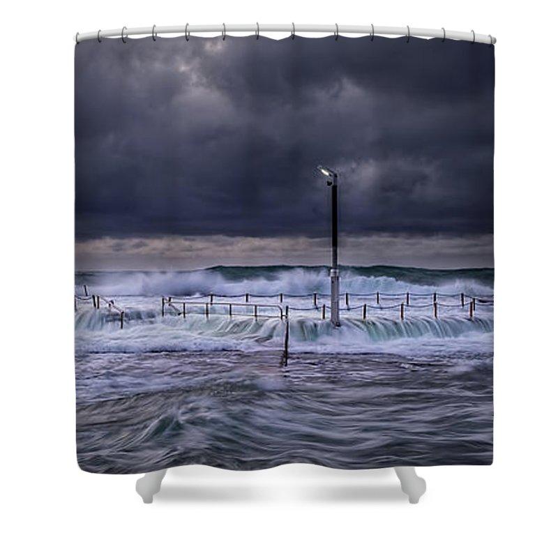 Panoramic Shower Curtain featuring the photograph Stormy Ocean, Monavale Beach, Australia by Bert