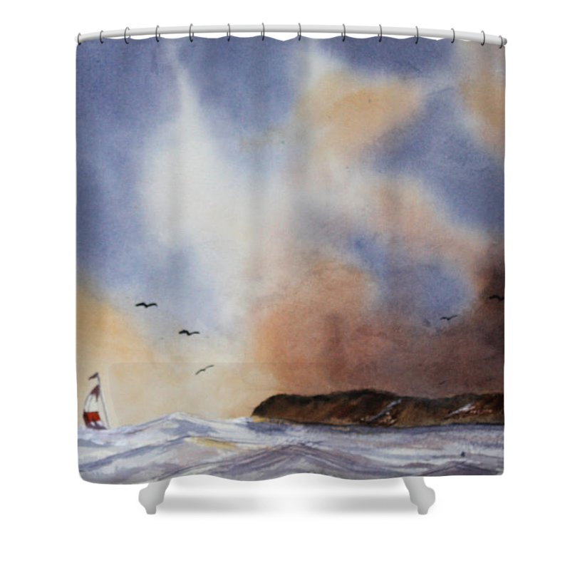 Sealscape Shower Curtain featuring the painting Stormy Sea by Patricia Novack