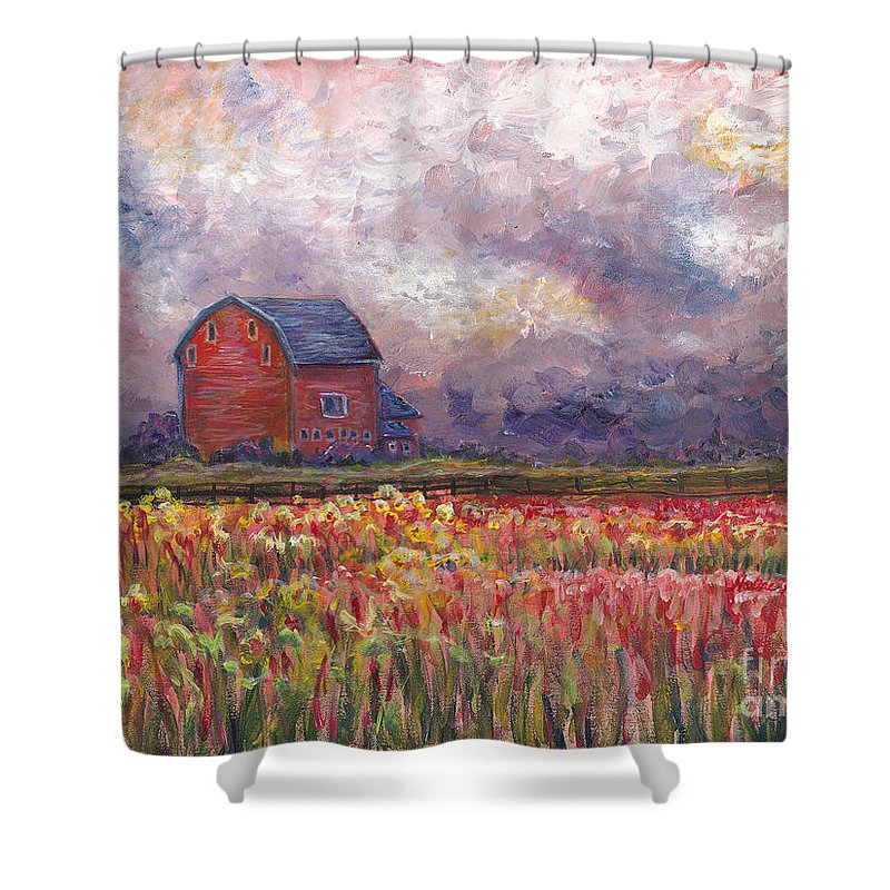 Storm Shower Curtain featuring the painting Stormy Sunflower Farm by Nadine Rippelmeyer