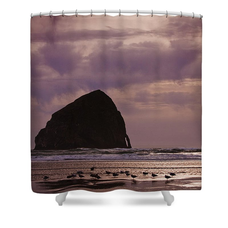 Stormy Sunset Shower Curtain featuring the photograph Stormy Sunset by Wes and Dotty Weber