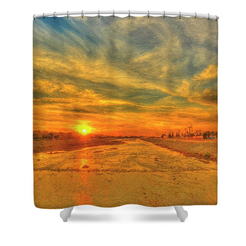 Sunset Shower Curtain featuring the painting Stormy Sunset Over Santa Ana River by Angela Stanton