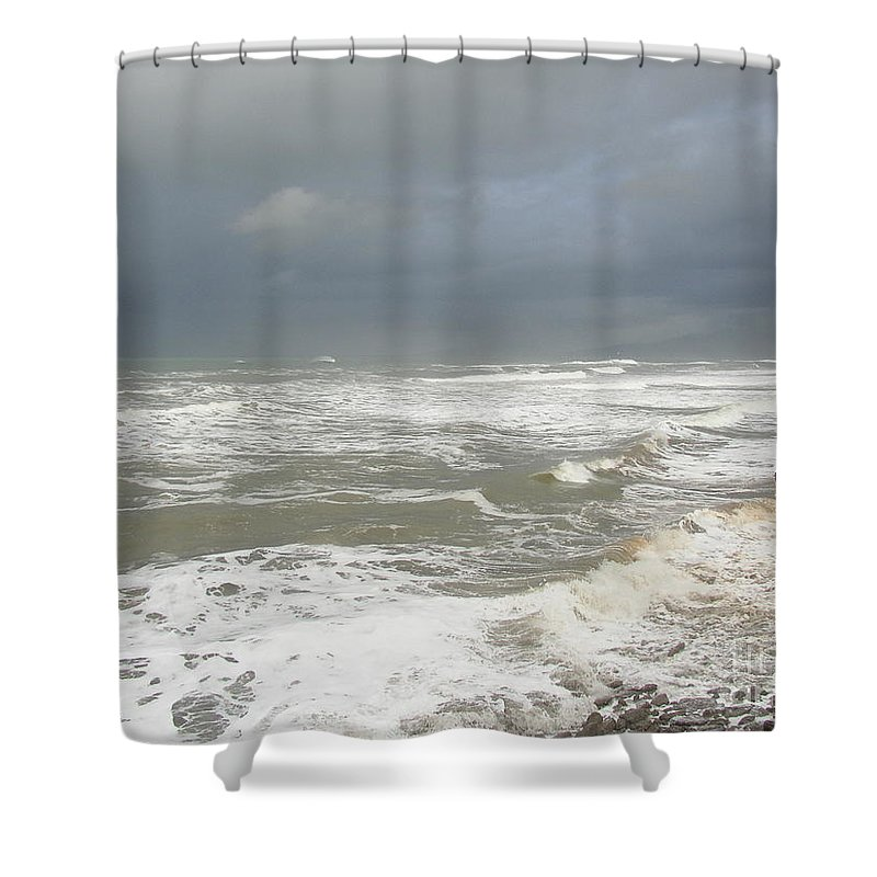 Sea Shower Curtain featuring the photograph Stormy Weather by Nancy Worrell