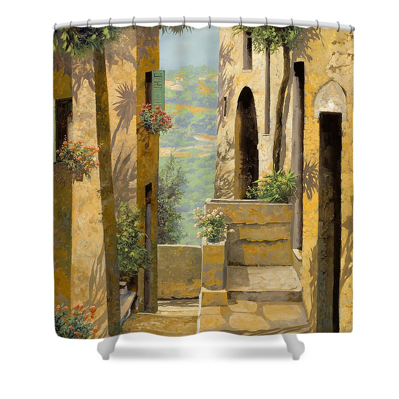 Landscape Shower Curtain featuring the painting stradina a St Paul de Vence by Guido Borelli