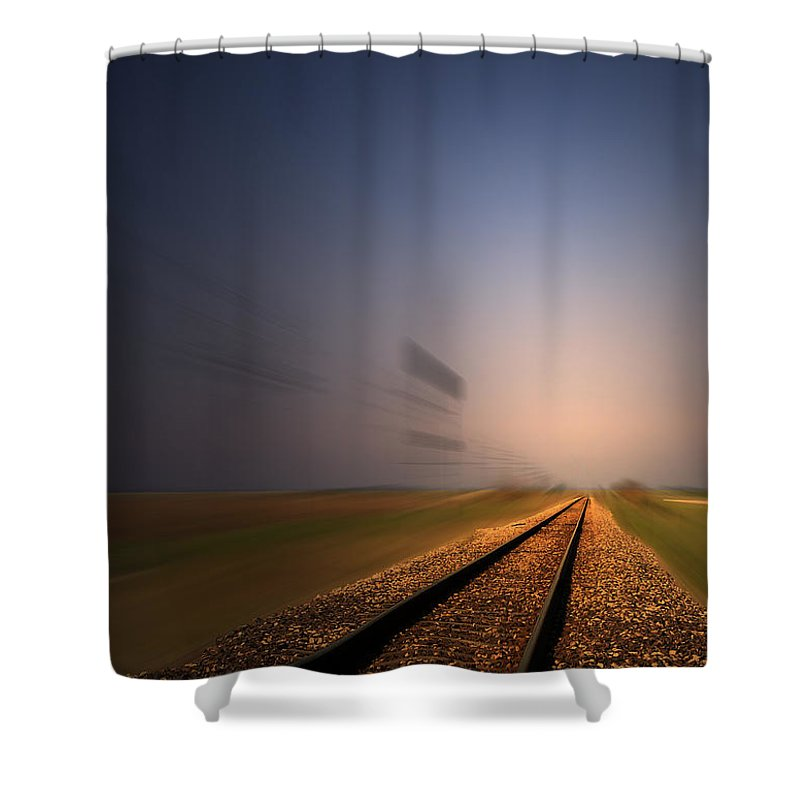 Train Shower Curtain featuring the photograph Straight As A Rail 02 by Thomas Woolworth