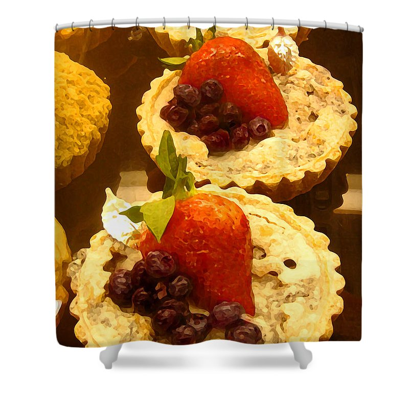 Food Shower Curtain featuring the painting Strawberry Blueberry Tarts by Amy Vangsgard