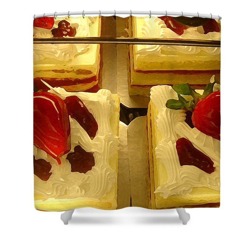 Kitchen Shower Curtain featuring the painting Strawberry Cakes by Amy Vangsgard