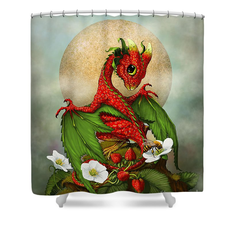 Dragon Shower Curtain Featuring The Digital Art Strawberry By Stanley Morrison