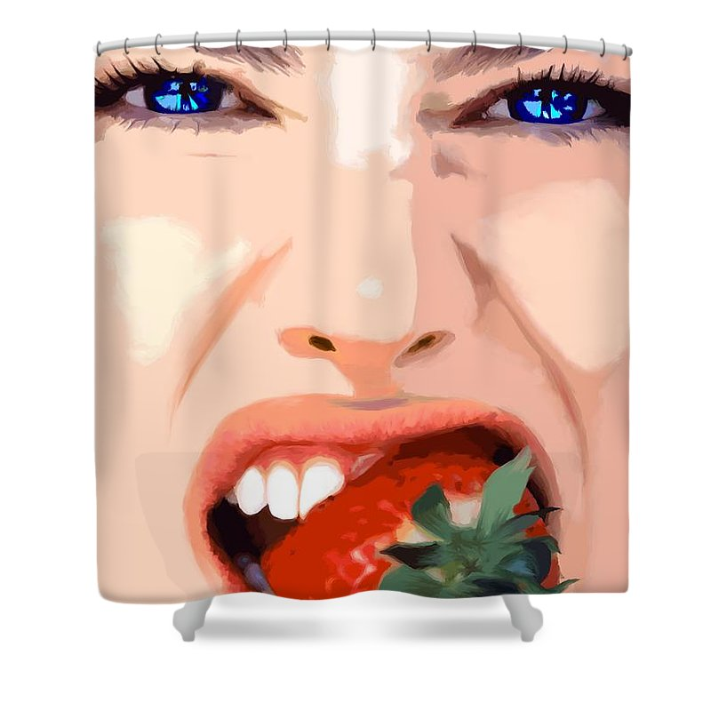 Pretty Girl Shower Curtain featuring the digital art Strawberry - Pretty Faces Series by Gabriel T Toro