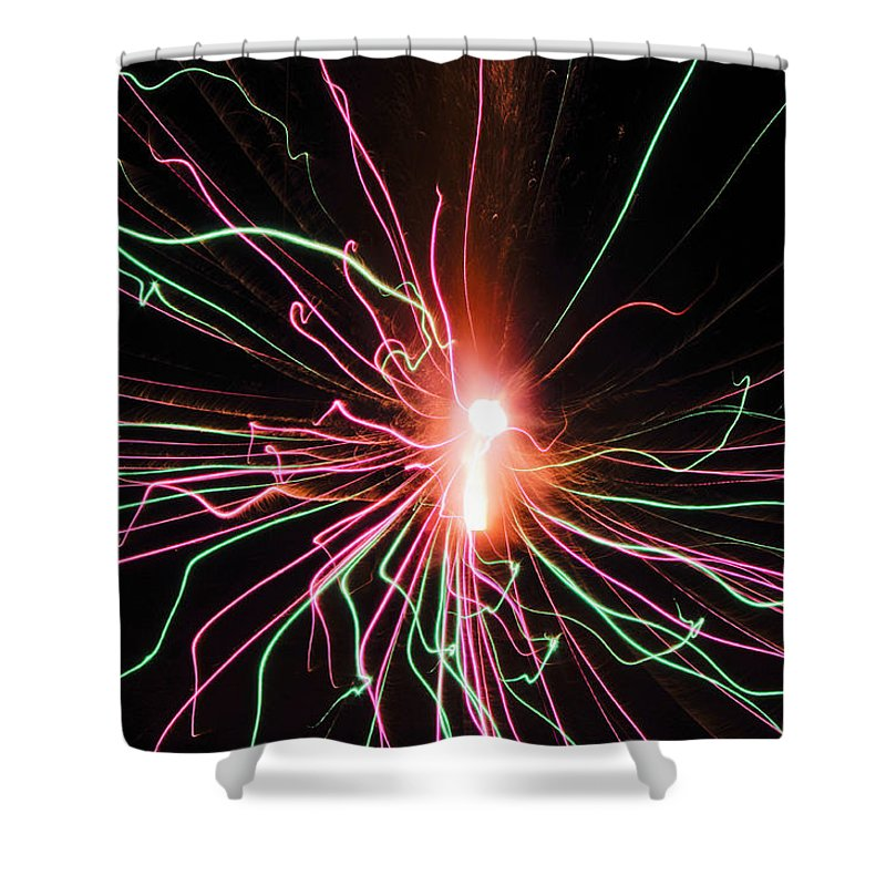 Fireworks Shower Curtain featuring the photograph Streamers 2 by Adria Trail