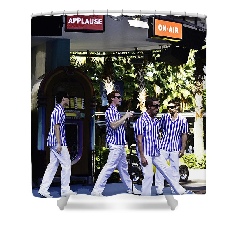 Action Shower Curtain featuring the digital art Street Entertainers In The Hollywood Section by Ashish Agarwal