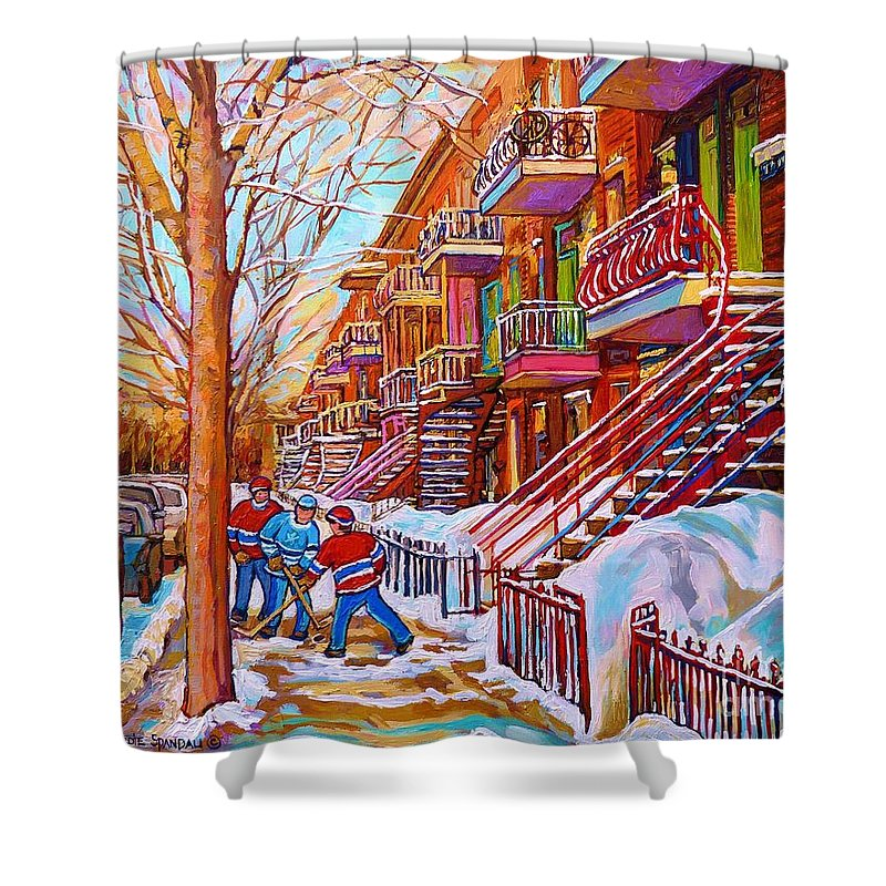 Montreal Shower Curtain featuring the painting Street Hockey Game In Montreal Winter Scene With Winding Staircases Painting By Carole Spandau by Carole Spandau