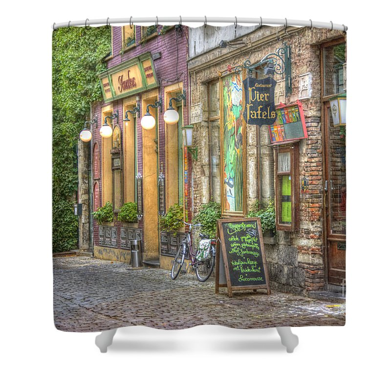 Architecture Shower Curtain featuring the photograph Street In Ghent by Juli Scalzi