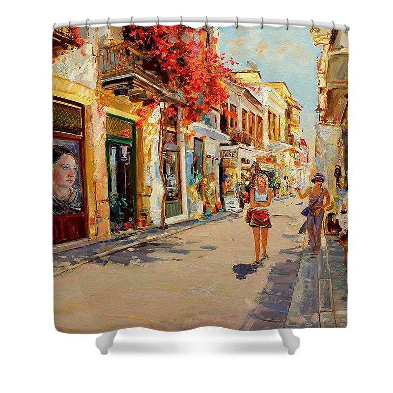 Street Shower Curtain featuring the painting Street In Nafplio Greece by Sefedin Stafa