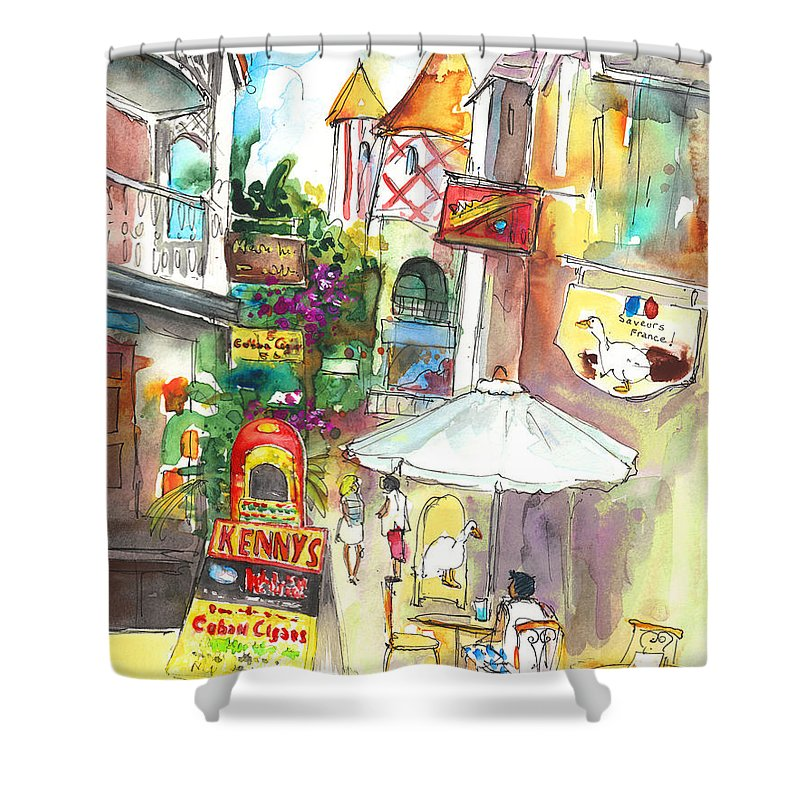 Caribbean Art Shower Curtain featuring the painting Street In Saint Martin by Miki De Goodaboom