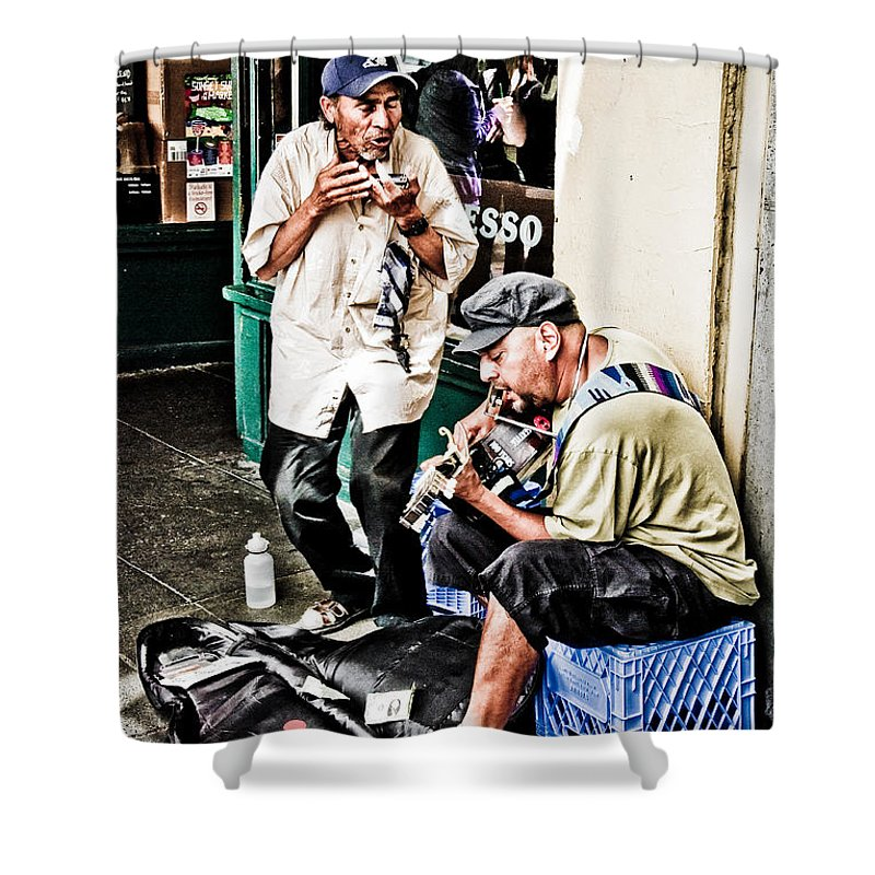 Fine Art Shower Curtain featuring the photograph Street Jammin by Jim Thompson