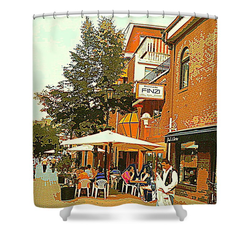 Cafes Shower Curtain featuring the painting Street Musician Serenades The Terrace Umbrella Crowd At Ristorante Finzi Italienne Cafe Scene by Carole Spandau