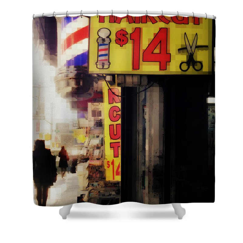 Street Sign Shower Curtain featuring the photograph Streets Of New York - Haircut 14 Dollars by Miriam Danar